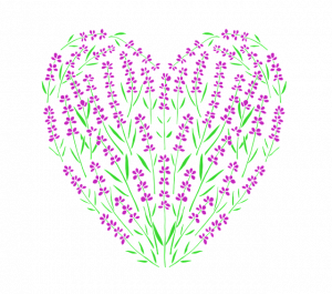 紫の花でできたハート